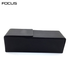 black flip top handmade glasses case with magnetic closure, wholesale customized pu leather eyewear case, logo printing