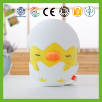 Factory direct sale plush stuffed yellow chicken toy with half egg