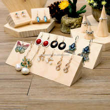 Wholesale quality folding jewelry display shelves jewelry display earring storage solid wood earring display