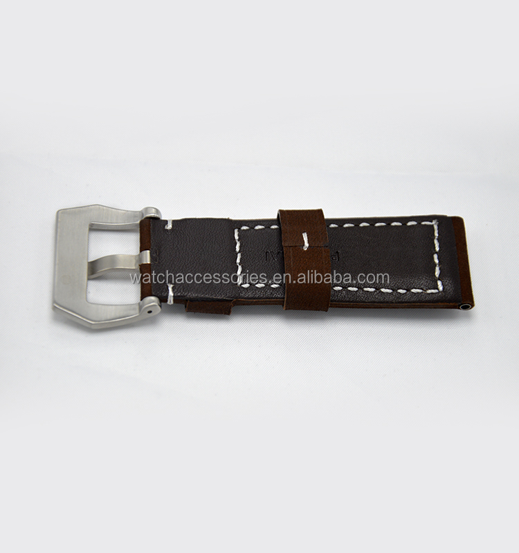 Wholesale 20mm 22mm 24mm top grade genuine leather brown watch Strap italy leather Band with pin buckle