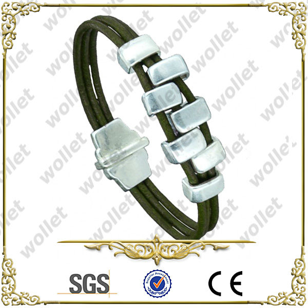 China Fashion Camouflage Stainless Steel Leather Bracelet Jewelry Accessory