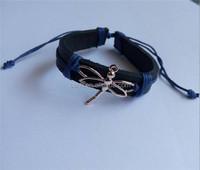 dragonfly charm genuine leather bracelet hand woven leather bracelet punk bracelet