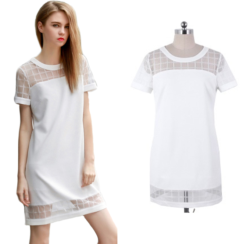 Summer Style Women Dress Summer Dress 2015 Cotton Short Sleeve Casual Mini White Dress Plus Size Dresses XXL WD107