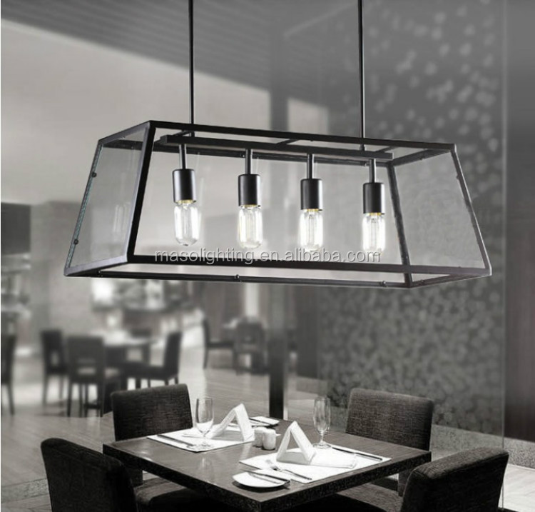 American Wooden Farmhouse Vintage Black Cage Pendant lamp Bar counter Dinning Room Glass Iron Hanging Lamp for Retro Decoration