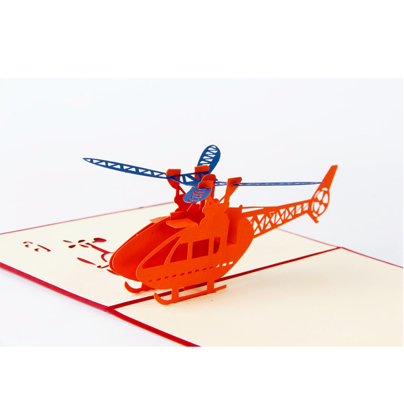 1pcs Helicopter 3D Paper Laser Cut Pop Up Anime Vintage Birthday Greeting Cards Gifts Wishes Postcards Crafts with Envelope Gift (4)