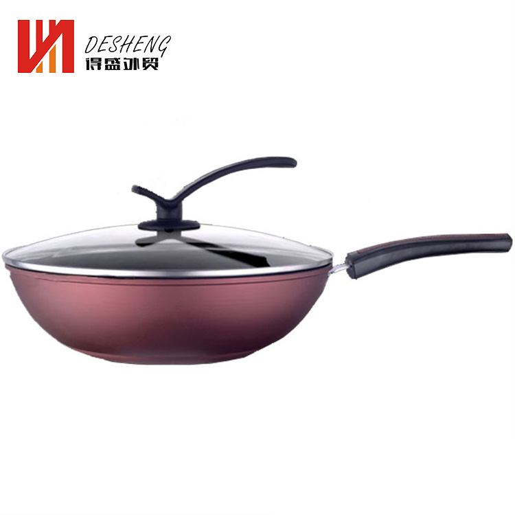 No smoking cheap daily used iron nonstick frying pan with lid