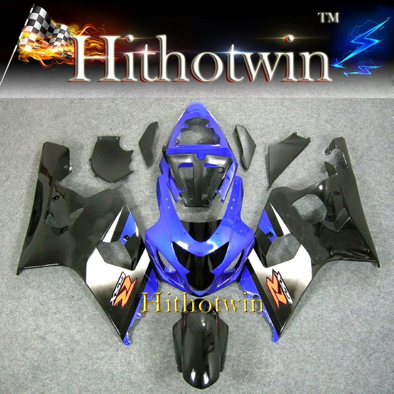 Fit 2004 2005 GSXR600/750 K4 For Suzuki GSXR600 GSXR750 2004 2005 blue black ABS Plastic Fairing Bodywork Set Kit