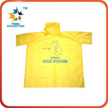 custom yellow foldable cheap kids raincoat in pocket