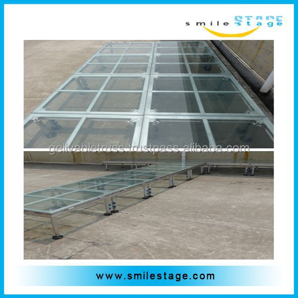 mobile exhibition stage for swimming pool with high quality glass platform