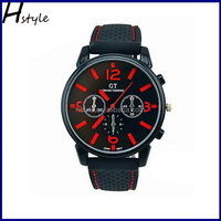 Men Racer Sports Quartz Wrist Silicone Strap Military Wrist Watch Red WP018
