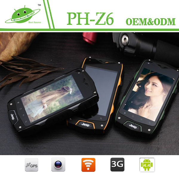 "ip68 4.0"" HD Screen 5.0MP Camera Outdoor phone JEEP Z6 rugged waterproof mobile phone"