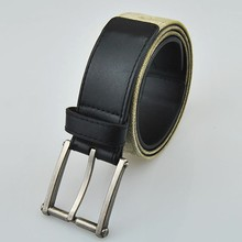 Hotsale high quality pale yellow canvas leather men belt with alloy buckle
