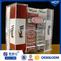 Manufacturing customized hot sale acrylic cigarette display rack / high quality plexiglass tobacco display