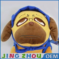 Factory model soft toys cute nice doll dog waeing blue shirt making pattern for sale