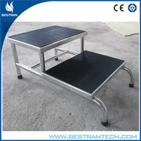 China BT-SE007 hospital stainless steel double foot step, cheap foot stool for clinic/medical use