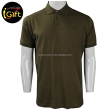 promotional cheap customized logo man blank army green cotton polo t shirt