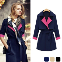 W30598H elegant lady wear long coat women trench coat with belt 2015