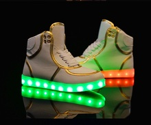 China LED Sneakers Mens Womens Luminous Shoes High Top Casual LED Light Up Shoes Luminous Women Men high top LED Shoes For Adult