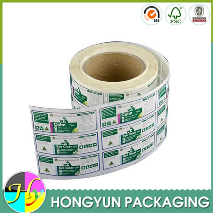 Custom printing designed sticker labels on packaging