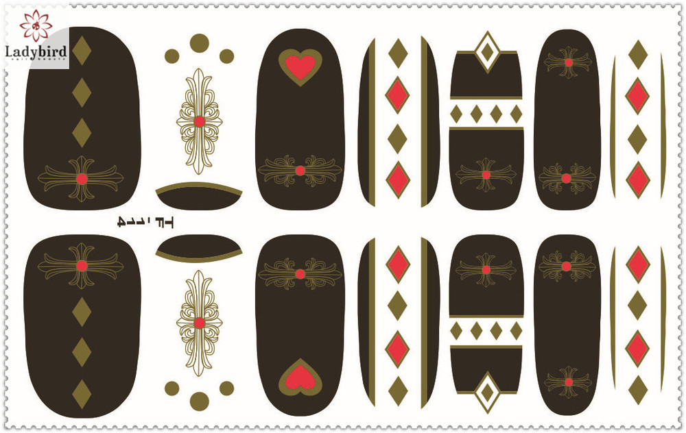 full cover nail wraps 3D gold nail stickers nail wraps