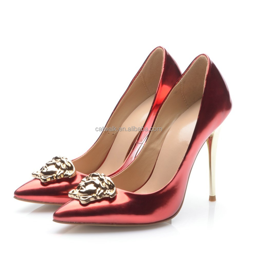 Mutli color metal plate red heels famous designer brand shoes sexy club wear women heels and pumps