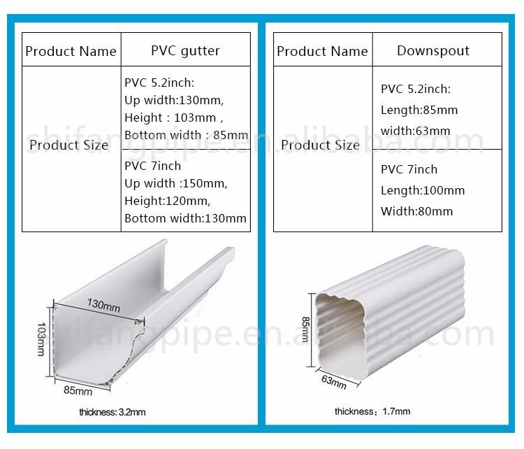 Hot Sale K Style Square Type Various Color Pvc Gutter