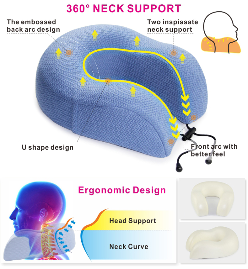 Hot Selling Memory Foam Different Color Travel Car Head Rest U Shape Soft Rebound Travel Neck Pillow