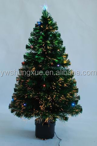 High Quality Artificial PVC Fiber Optic With Led Ball Star Lighted Christmas Tree