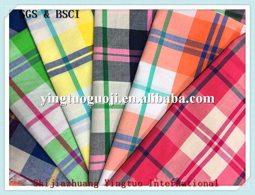 TC 65 polyester 35 cotton twill yarn dyed plaid poplin linen fabric