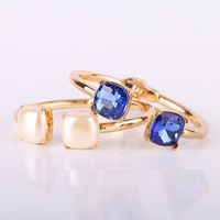 Women pearl bracelet blue crystla gold wedding bangle with sapphire