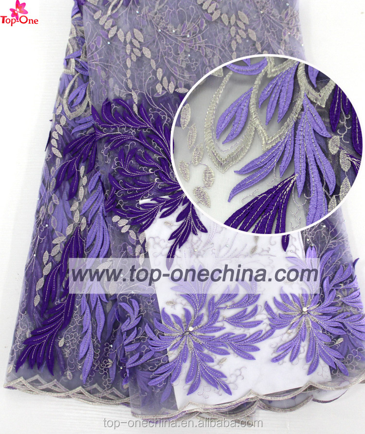 Big purple embroidery lace african lace fabrics 3d lace fabric