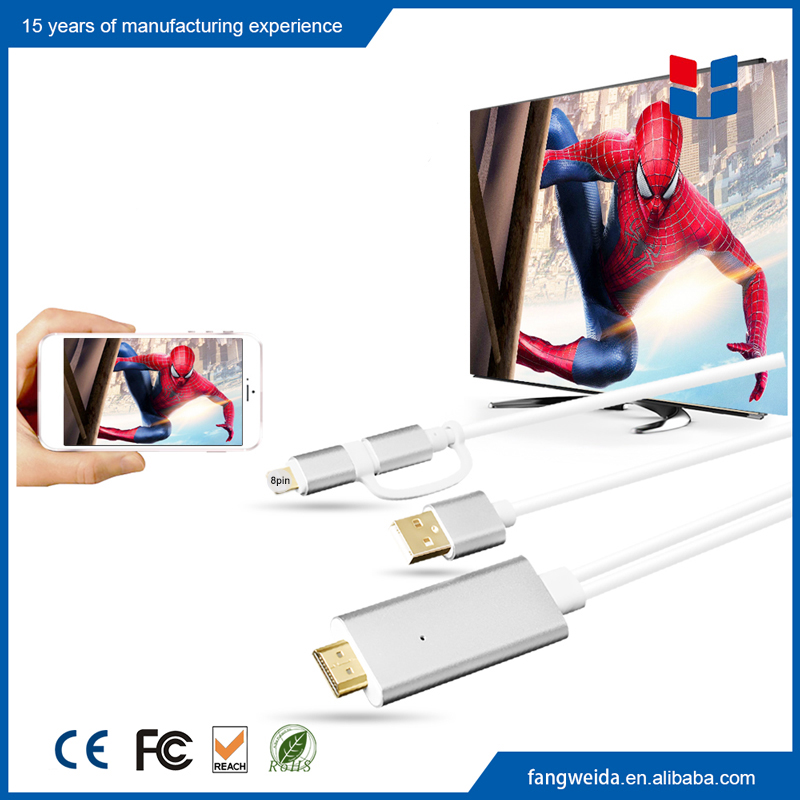 Customized Micro USB 5Pin + 8Pin to HDTV Adapter for iPhone to TV Cable