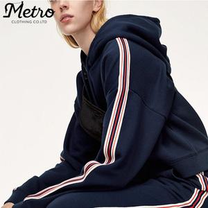 custom sport wear side stripe sweatshirts women bulk active