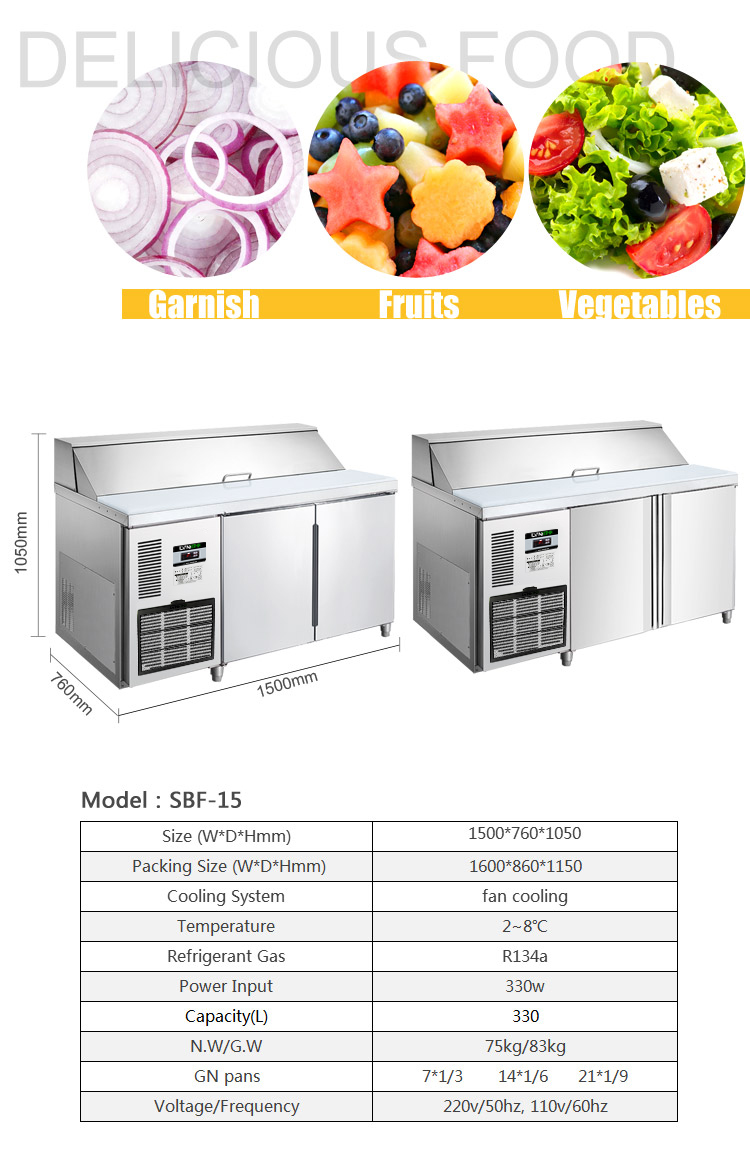 LVNI commercial stainless steel counter salad fridge refrigerator with worktop