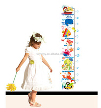 kids room decorative cartoon sticker,sea world height chart wall sticker