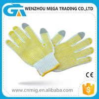 Working half finger knit gloves Yellow pvc dotted gloves ,Cotton gloves