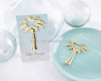 Beach themed Palm Breeze Gold Bottle Opener wedding souvenirs