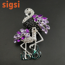 2017 best deal purple acrylic 80mm Mother and daughter flamingo animal brooch pins