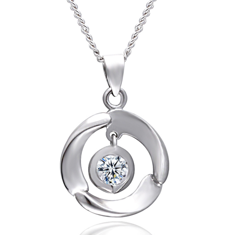 2016 Hot Selling White AAA Crystal Round Silver Pendant Jewelry <strong>Fashionable</strong>