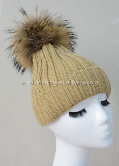 XXL Big Ball Hats Real Raccoon Fur Ball Unisex Wool Beanie Hats Knitted Hats