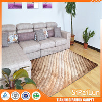 Low price best quality 100% polyester 3d striped design shaggy carpet