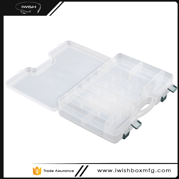 High Quality Double Sided Clear Plastic Lure Hook Storage Fishing Tackle Case With Removable Dividers