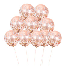 2019 hot New <strong>12</strong> inch 2.8g rosa gold green color transparent confetti balloon