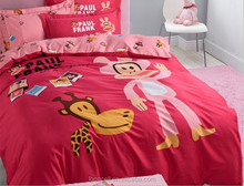 Hot selling 100% cotton adult cartoon high quality printed 4pcs bedding set/cartoon bedsheet for children