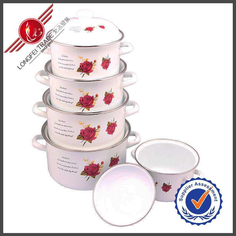 Corningware Flower Decal White Ceramic Coating Cookware Set