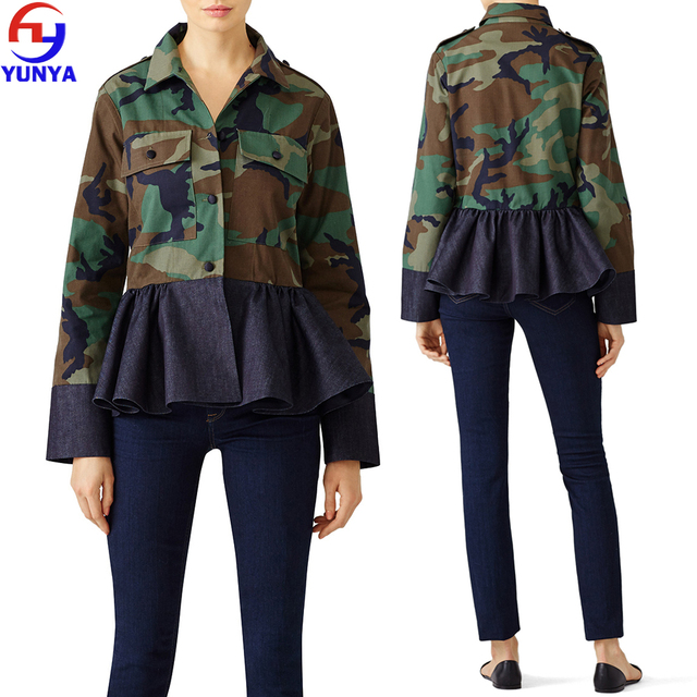 2017 trending products camouflage fabric long sleeve camo women shirt
