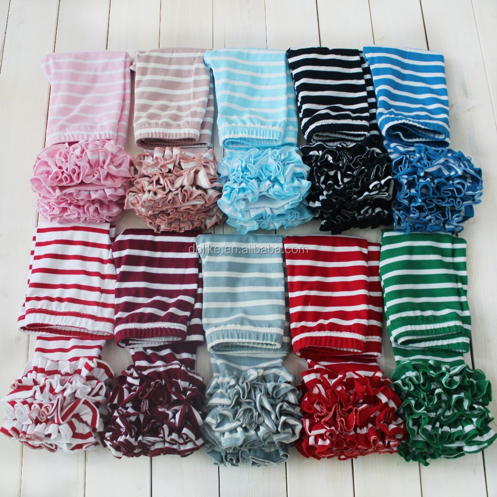 New arrival girls stripes pants baby girls icing ruffle pants spring colors baby leggings