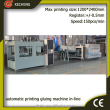 High speed automatic corrugated carton box flexo printing machine with gluing and bundling machine in-line