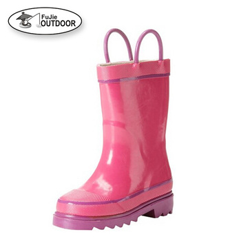 Children's Waterproof Natural Rubber Rain Boots with Easy-On Handles Simple For Kids