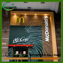 Popular eco <strong>wood</strong> Mcdonald's decoration wall panel